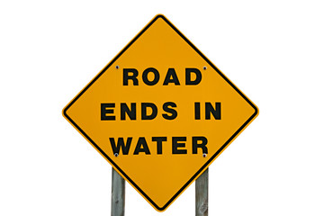 Yellow Warning Sign That States Road Ends In Water