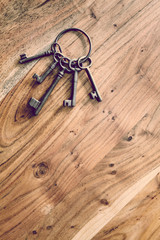 keys on wood