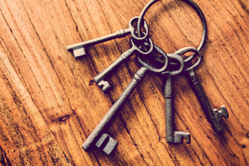 iron keys wood background