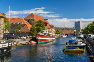 Canal in Copenhagen city center, Denmark