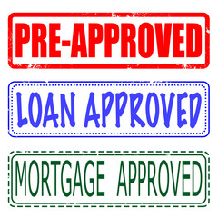 mortgage , loan , pre-approved set stamp