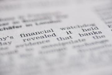 Financial written newspaper