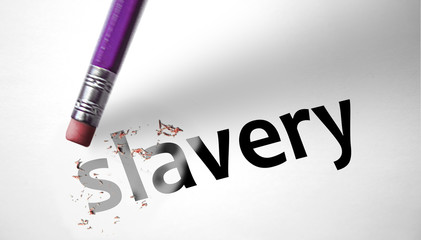 Eraser deleting the word Slavery