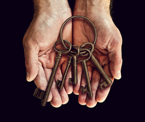 old keys in hands
