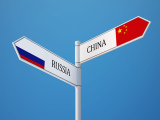 Russia China  Sign Flags Concept
