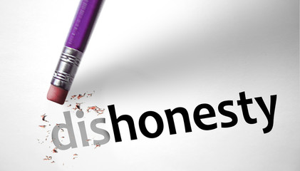 Eraser changing the word dishonesty for honesty