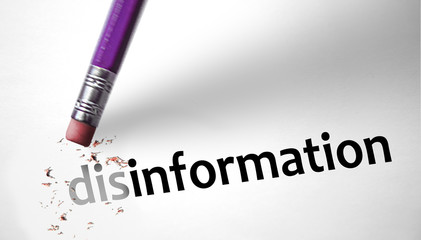 Eraser changing the word disinformation for information