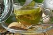 Tè verde macro in tazza