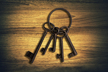 iron keys wood