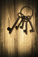 vintage door keys wood