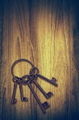 vintage keys wood