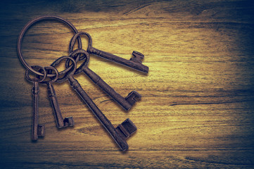 old door keys wood
