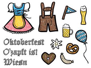 Farbige, handgezeichnete Oktoberfest-Symbole – Vektor