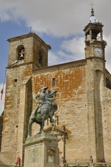 Equestrian statue in Trujillo, Spain