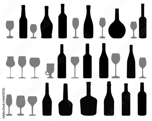 Silhouettes of glasses and bottles of wine, vector - 66678765