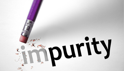 Eraser changing the word Impurity for Purity