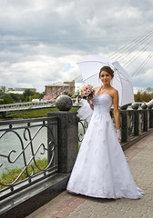 Beautiful bride wiht umbrella