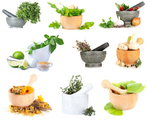 Collage of different herbs isolated on white