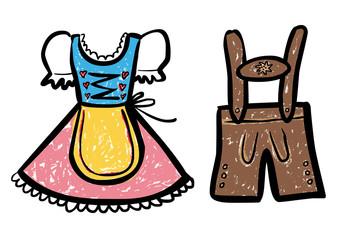 Farbige Zeichnung Dirndl / Lederhose – Vektor / freigestellt