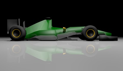 Render green car