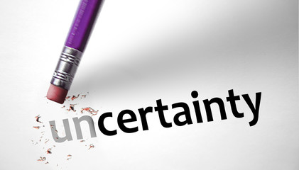 Eraser changing the word Uncertainty for Certainty