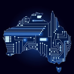 Map of australia with electronic circuit