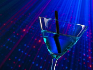 detail of blue cocktail drink in a disco with space for text