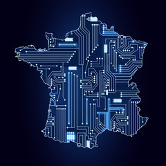 Map of France with electronic circuit