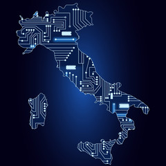 Map of Italy with electronic circuit