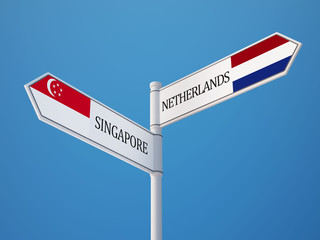 Singapore Netherlands  Sign Flags Concept
