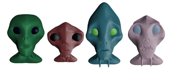 3D rendered aliens busts