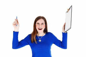 Woman holding clip board.