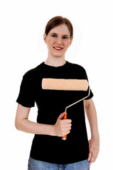 Woman holding paint roller.