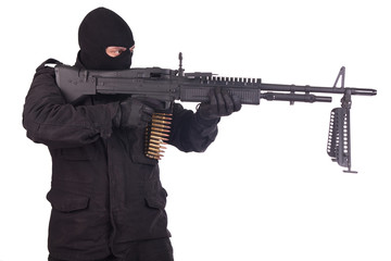 mercenary with M60 machine gun