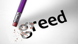 Eraser deleting the word Greed poster
