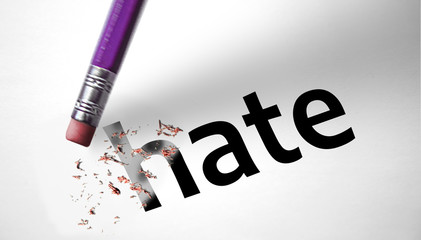 Eraser deleting the word Hate