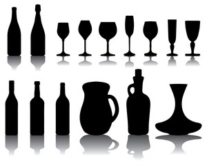 Silhouettes of wine glasses and bottles , vector