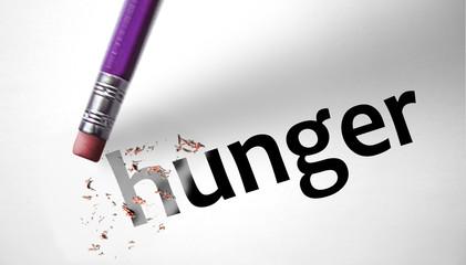 Eraser deleting the word Hunger
