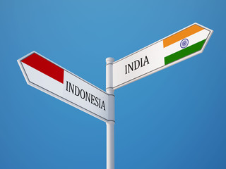 Indonesia India  Sign Flags Concept