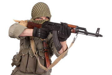 mercenary with AK 47 gun