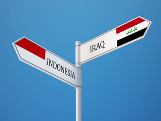 Indonesia Iraq  Sign Flags Concept