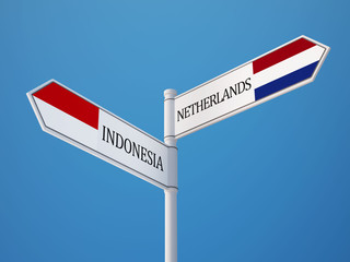 Indonesia Netherlands  Sign Flags Concept