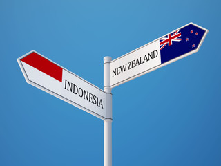 Indonesia New Zealand  Sign Flags Concept