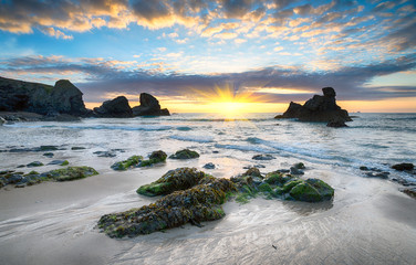 Sunset at Porthcothan Beach