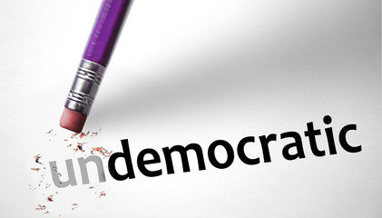 Eraser changing the word Undemocratic for Democratic