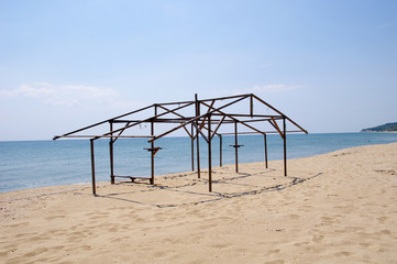 Wooden construction of hut on beach