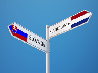 Slovakia Netherlands  Sign Flags Concept