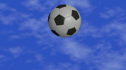 rotating soccer ball on a blue sky background