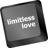 Modern keyboard key with words limitless love poster