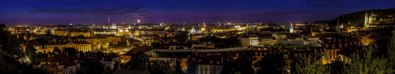 Prague by night, panoramic view of the city.